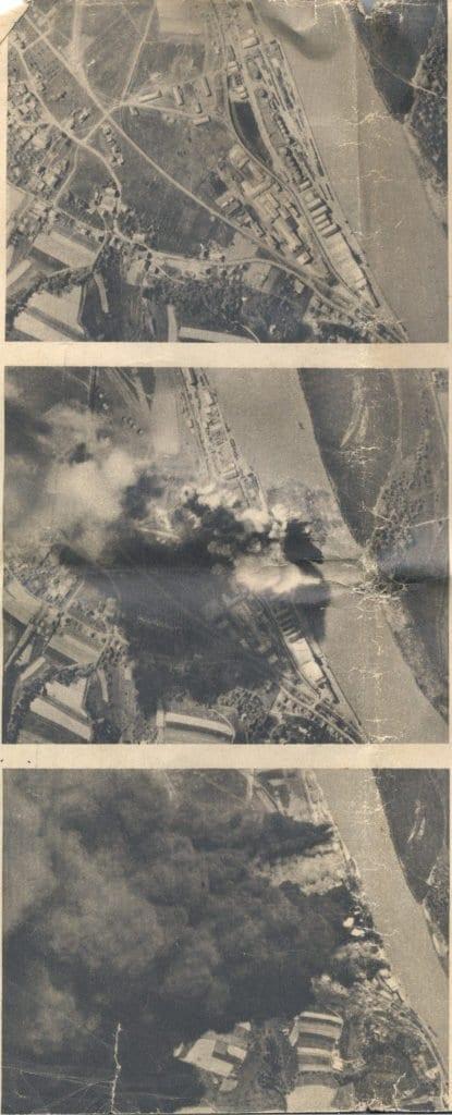 Aufnahmen des Luftangriffs auf die Tankanlagen am 20.4.1945