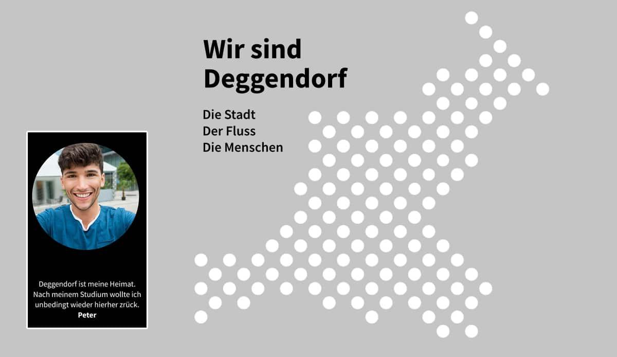 Wir sind Deggendorf! Die Stadt - der Fluss - die Menschen - Stadtfläche-Symbol mit Punkten auf grauem Hintergrund